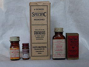 5 Early-Mid 20thC Vintage Heart Cure Medicine Bottles