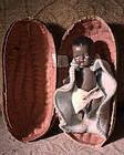 Darling C1950s JAPAN Black Bisque Baby in Peanut Shell