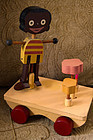 1930 Wood Pull Toy Puppetoons Black Boy