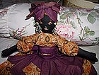 1940 Black Mammy Half Doll Embroidered Face BeadEarring