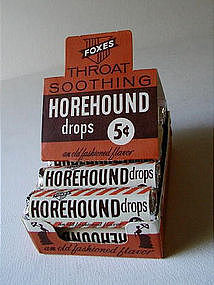 FOXES Throat Horehound Drops Pharmacy DrugStore Display