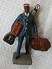1930 Pot Metal Black Man Red Cap Railroad Porter Figure