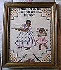 1950s Black Americana Mammy Cross Stitch Sampler