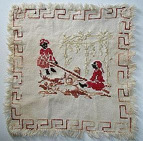19C Folk Art Needlework Sampler 2 Black Girls on SeeSaw