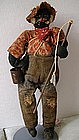 "1930 Alabama WPA Folk Art Black Cloth Doll ""Fisherman"""
