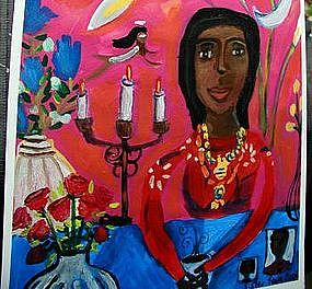 Original Outsider Folk Art Coffee With the Spirit World