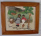 RARE 1890s Folk Art Painted Needlework Dixie Black Folk