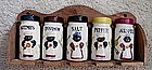 1950 Black Mammy Pappy 5 Ceramic Jars Spice Set w/ Rack