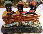 1920s Cast Iron Doorstop 3 Black Boys Eating Watermelon
