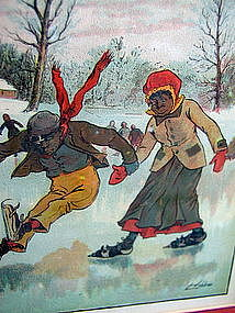 1907 Blake Lithograph Teaching Hannah Mariah To Skate