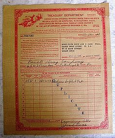 1947 IRS Pharmacy Drug Store Narcotic Form-Logan, OHIO