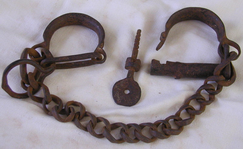 RARE Authentic 19thC Georgia CHILD SLAVE Shackles w/KEY ... Middle Passage Ship