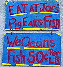 C1960s Outsider Art Black Memorabilia EAT AT JOES Signs