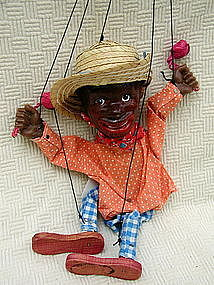 1940s Composition Black Americana Boy Marionette Puppet