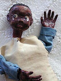 1950s Artisan Crafted Papier Mache Black Boy Puppet