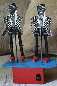 1937 Tin Wind Up JITTER-BUG Black Americana Jigger Toy