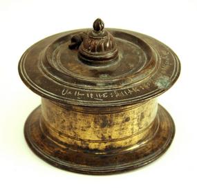 Antique Cast Bronze Inkwell