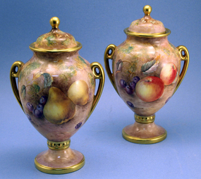 Pair of Aynsley Fruit Decorated Urns by Paul English