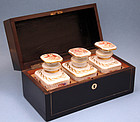 Antique French Tea Chest with Porcelain Caddies