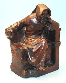 Antique Carved Oak Statue of a Monk