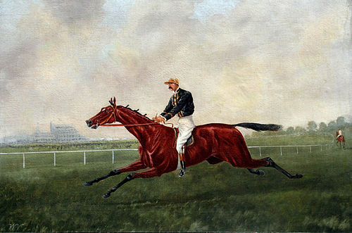 19th Century British Painting Of A Jockey Galloping Horse