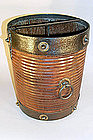 Iron and Brass Bound Walnut Bucket