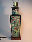 19th C. Chinese Famille Noir Carved Square Vase Lamp