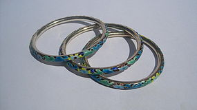 Group of Early  20th C. Chinese Enamel Silver Bangles