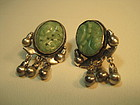 Late 19th / 20th C. Chinese Silver Jade Earrings