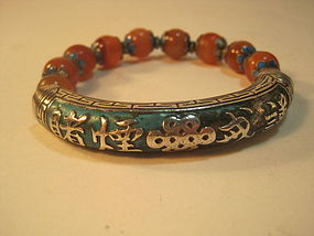 Beautiful Chinese Silver Enamel And Agate Bracelet