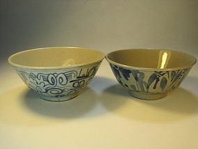 Two Chinese Old Blue And White Porcelain Bowls Marked