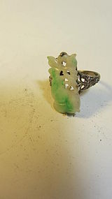 A Beautiful Vintage Chinese Silver Jadeite Ring Marked