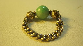 Old Chinese Jadeite 14K Gold & Silver Gold Wash Ring