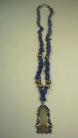 An Old Chinese Lapis Silver Necklace With Jade Pendant