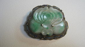 A Beautiful Old Chinese Jadeite Silver Enamel Brooch