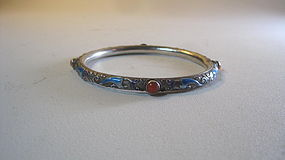 Early 20th C. Chinese Enamel With Coral Silver Bangle