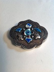 Early 20th C. Chinese Export Silver Enamel Pill Box Mk