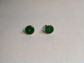 Pair Of Beuatiful Vintage Chinese Jadeite Earrings 18K