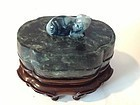 Late 19th/20th C. Chinese Spinach Jade Box W Stand