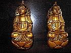 Rare gilt-lacquered wood figures of Bodhisatva
