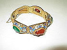 Vintage Chinese enameled Silver Bracelet / Bangle