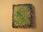 A Beautiful 18th C. Chinese Silver Mounted Jade Brooch