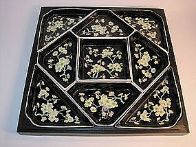 A 19th/20th C. Chinese famille noire porcelian tray