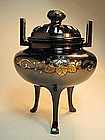 19th/20th C. Japanese Gold/ Silver Inlaid Bronze censer