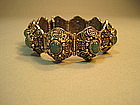 Early 20th C. Chinese Sterling Silver & Jade Bracelet
