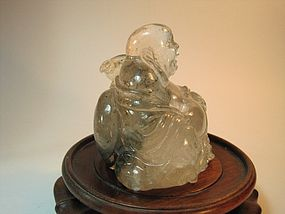 Beautiful 19th C. Chinese Nature Rock Crystal Buddha