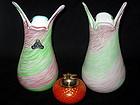 Murano FRATELLI TOSO Pink Green AVENTURINE Flecks Vases