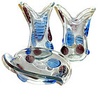 MURANO Venetian 3 PIECE Vase Centerpiece Bowl Set
