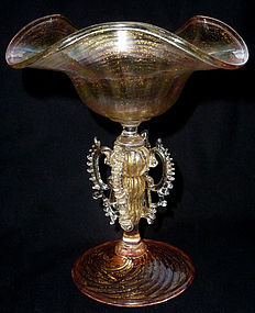SALVIATI Antique Venetian RAINBOW Gold Flecks TAZZA