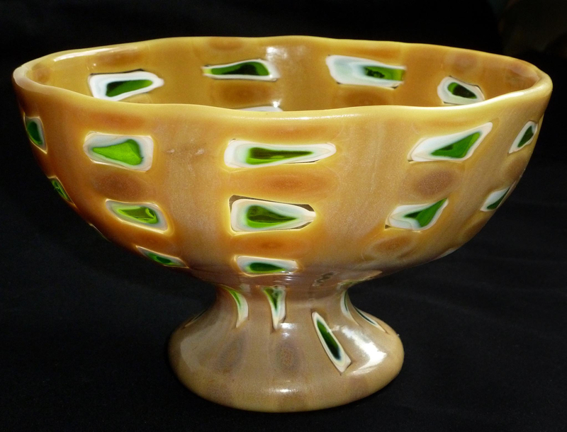 Murano 3 FIORI MOSAIC WINDOW Murrine Compote Bowl Dish